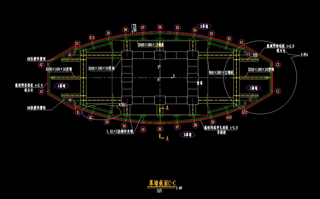 禹州颍川大桥铝单板幕墙立面图,大样图设计
