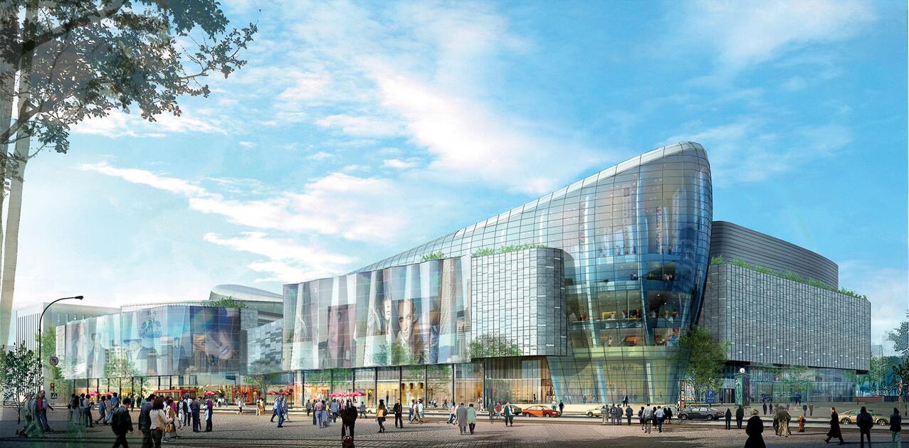 恒隆广场玻璃幕墙设计效果图案例