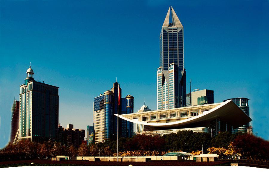 上海人民广场框架式石材幕墙设计效果图案例