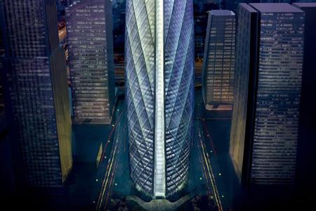 超高建筑物单元式玻璃幕墙设计效果图
