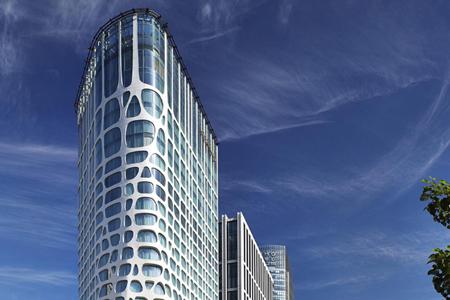 康莱德酒店明框玻璃幕墙设计效果图