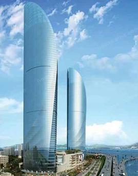 厦门世茂海峡大厦隐框玻璃幕墙设计效果图