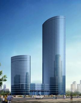 大连星海湾金融城隐框玻璃幕墙设计效果图