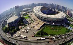 上海体育场半单元式玻璃幕墙建筑工程案例