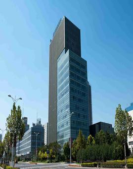 法尔胜商务办公楼隐框玻璃幕墙施工效果图