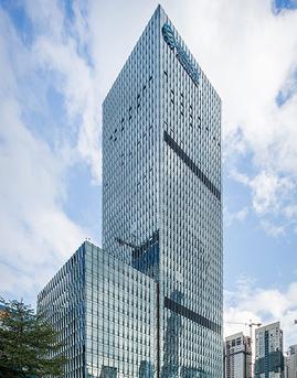 中国移动深圳信息大厦单元式复合玻璃幕墙施工效果图