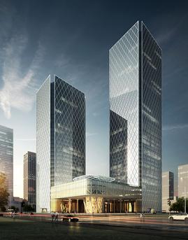 历下金融商务服务中心玻璃幕墙设计效果图