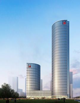 湖南日报传媒中心塔楼框架式玻璃幕墙系统设计效果图
