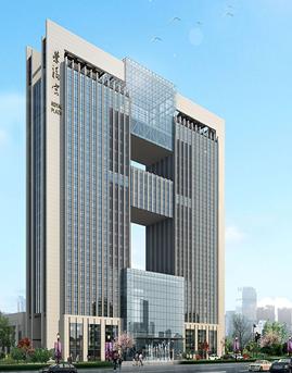河北迁安市荣福宫大厦框架式竖明横隐玻璃幕墙设计效果图