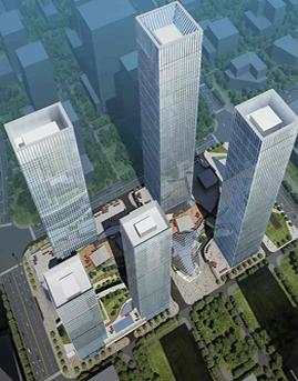 华润前海中心明框玻璃幕墙施工效果图