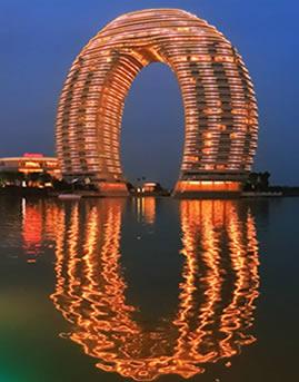 中国湖州喜来登温泉度假酒店玻璃幕墙设计效果图