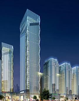 西安锦业时代全玻璃幕墙设计效果图