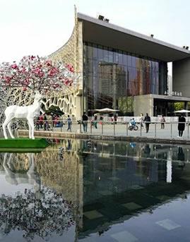 上海自然博物馆框架式玻璃幕墙设计效果图