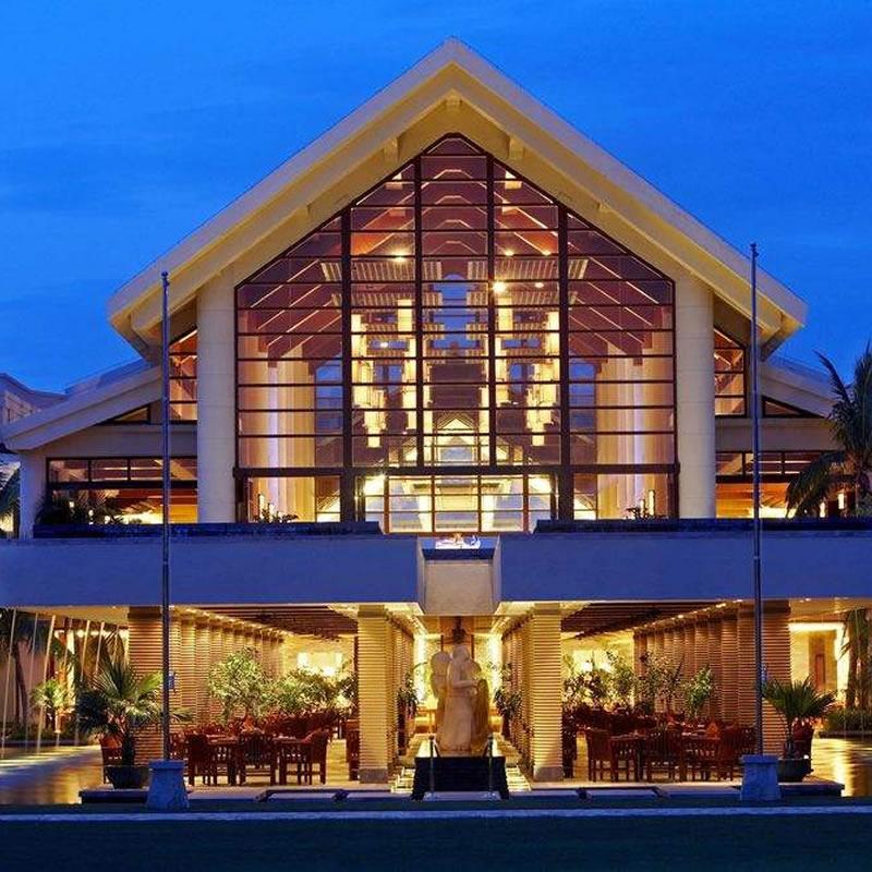 三亚喜来登度假酒店石材幕墙,隐框玻璃幕墙设计案例