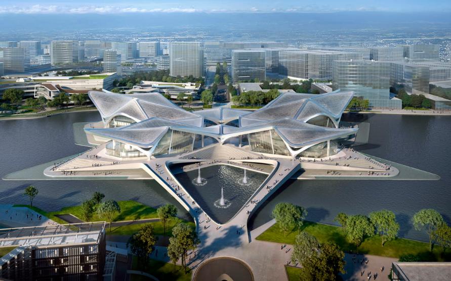 扎哈事务所'珠海金湾市民艺术中心'施工中,候鸟列队形态
