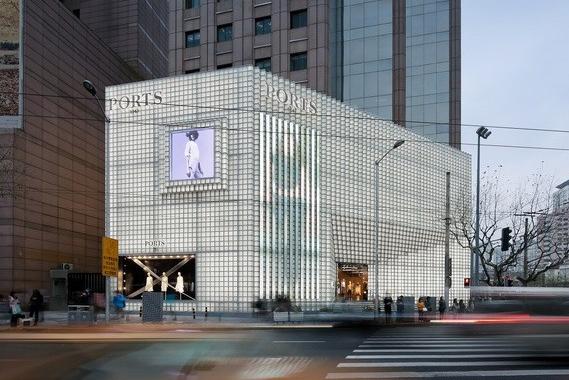 清凉的外立面――宝姿1961上海旗舰店外立面