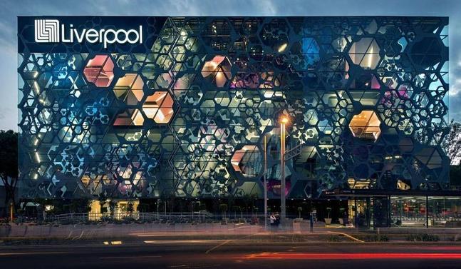 墨西哥利物浦百货大楼――玻璃纤维、钢、铝与玻璃幕墙形成美到爆炸的外皮